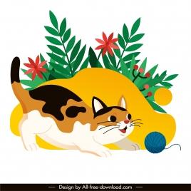 kitty painting joyful sketch cute cartoon design