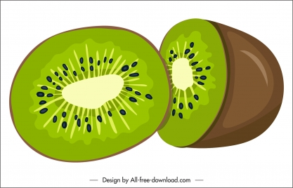 kiwi fruit icon colored classic 3d sketch