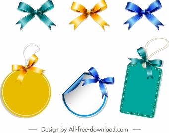 knot tags templates shiny colored modern decor