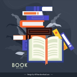 knowledge background books stack sketch colorful flat classic
