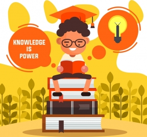 knowledge background learning boy books lightbulb icons decor
