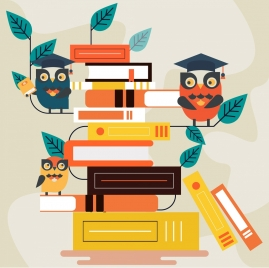 knowledge background stylized owls books stack icons