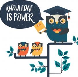 knowledge banner stylized cartoon owl icon retro design