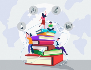 knowledge concept background students huge books stack icons