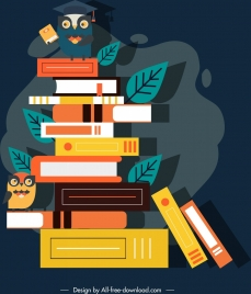 knowledge conceptual background book stack owl icons