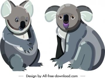 koala wild animal icons cute cartoon sketch