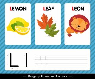 l alphabet studying template lemon leaf lion sketch