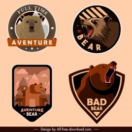label template wild bear sketch classic design