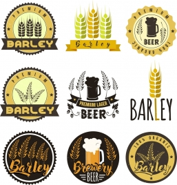 label templates barley beer icons classical isolation