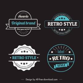 label templates retro design flat shapes