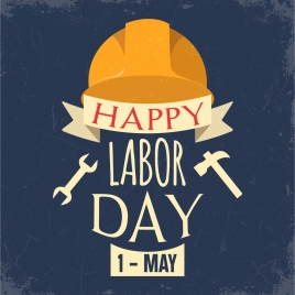 labor day banner hat tool icons texts decor