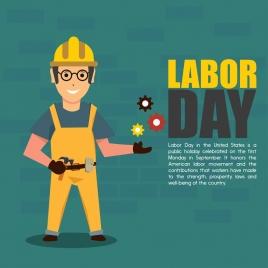 labor day banner worker wearing helmet icon