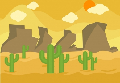 ladscape theme design cactus and yellow desert decoration