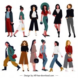 lady fashion icons elegant modern design cartoon characters