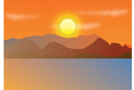 lake and mountain sunset landscape
