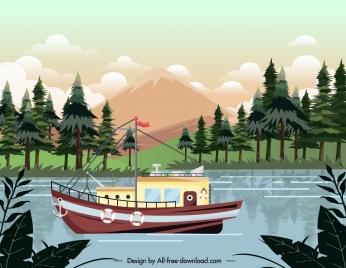 lake scenery painting crusing ship sketch colorful modern