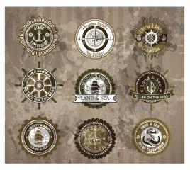 land and sea vintage badge