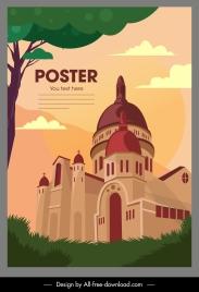 landmark poster vintage church sketch classic design