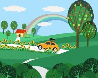 landscape background green trees car icon cartoon design