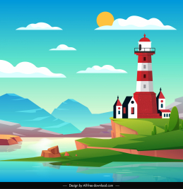 landscape background lighthouse lake sketch