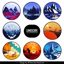 landscape background templates colorful classical decor circle isolation