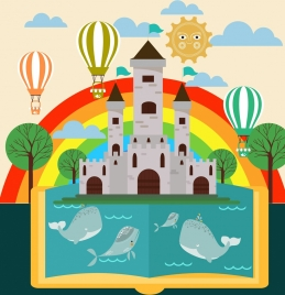 landscape book background colorful rainbow castle whale icons