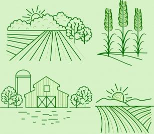 landscape drawing sets green lines decoration