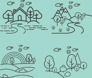 landscape drawings monochrome lines sketch