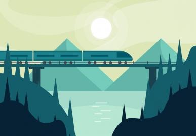 landscape painting bridge express train icons classical design