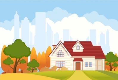 landscape vector illustration with city vignette