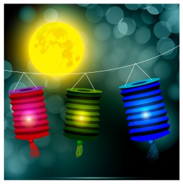 lantern under yellow moon background