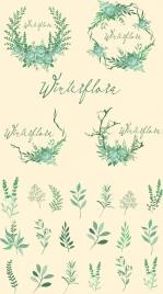 laurel wreath design elements green trees retro design