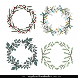 laurel wreath icons classic floral leaves decor