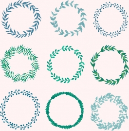 laurel wreath icons collection circles isolation