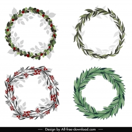 laurel wreath icons colored classical design