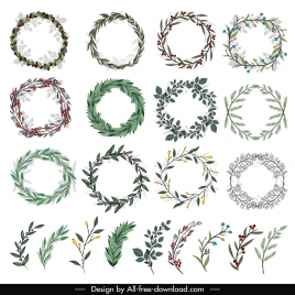 laurel wreath templates floral leaves decor classic design