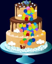 layer chocolate cake design colorful balloons decoration