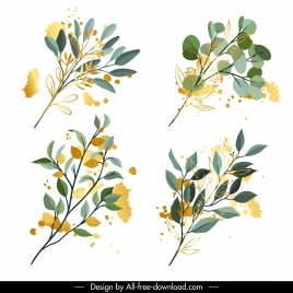 leaf branch icons colored classic grunge sketch