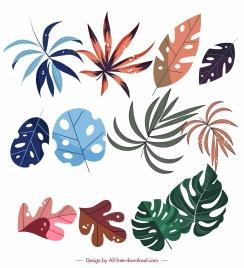 leaf icons colorful flat classic design