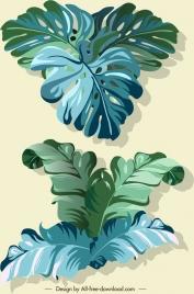 leaf icons green design 3d sketch