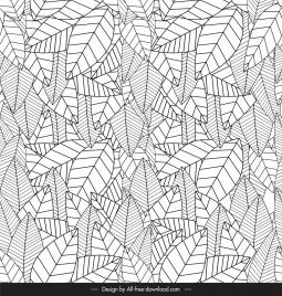 leaf pattern template black white luxuriant sketch
