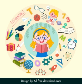 learning background cute girl education elements circle layout