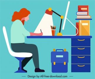 learning background woman desk sketch colorful flat design