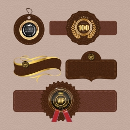 leather tags collection various luxury brown shapes