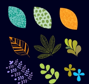 leaves and flowers icons collection various colored shapes