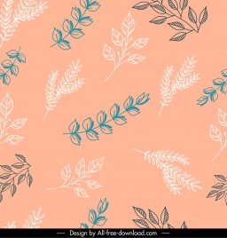 leaves background branches sketch flat handdrawn