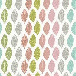 leaves background multicolored icons repeating design
