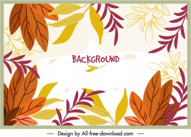 leaves background template bright colored handdrawn classic sketch