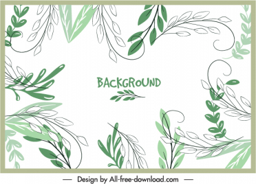 leaves background template classical handdrawn sketch
