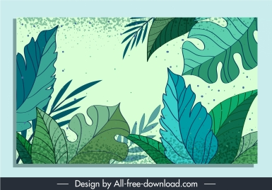 leaves background template green classical handdrawn outline
